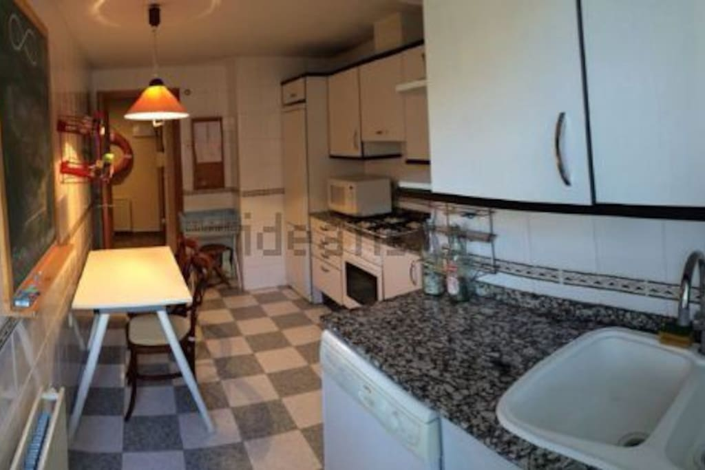 The kitchen! (with blackboard  to leave your footprint on)
