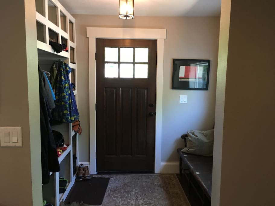 Entry way, for hanging coats, taking off shoes, dropping bags, etc.!