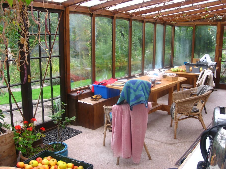 large conservatory with tea, coffee etc