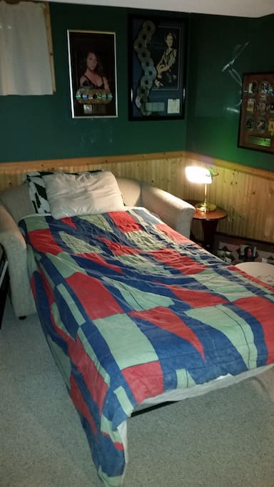 Another option, same price: convertible sofa bed in the finished basement
