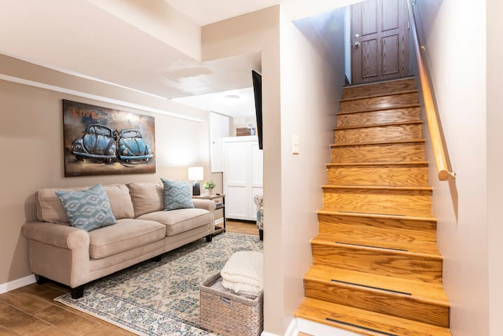 Private entrance and stairs. Auto-locking door knob for added security includes a new access code for each guest.