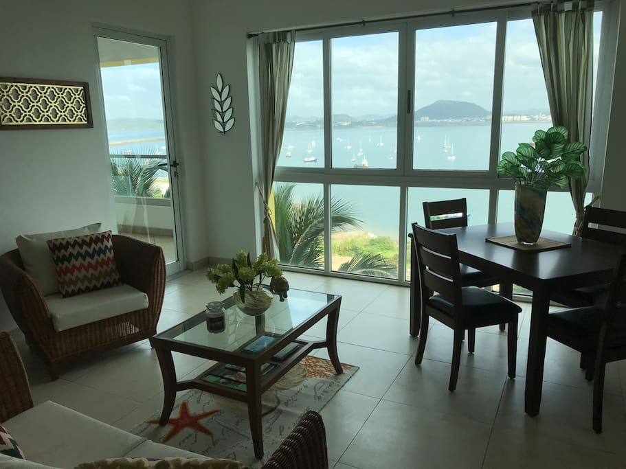 View of the sea from all rooms in the apartment including living room and dining room
