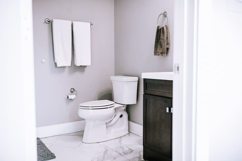 Full bathroom with a tiled, walk-in shower.