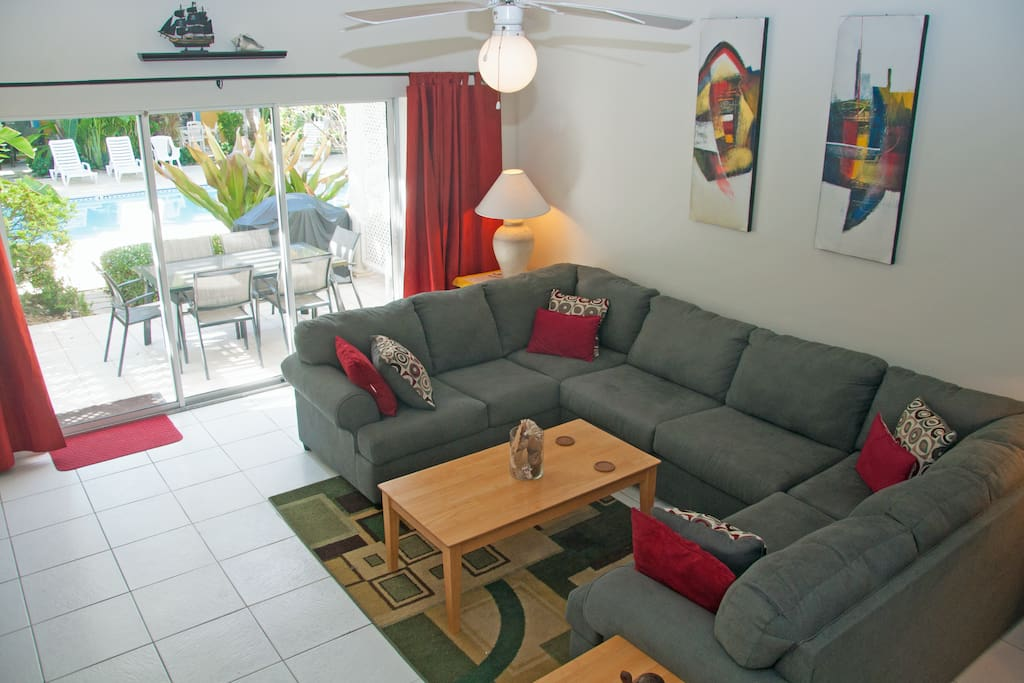 A comfortable sectional for relaxing in the evenings.