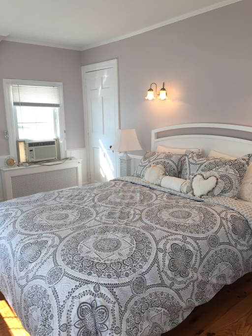 Family history calls this one the pink room, which was the wall color before this more hip modern-mauve. We love the bed and breakfast feel here. Cable TV and added bonus: your own bathroom!