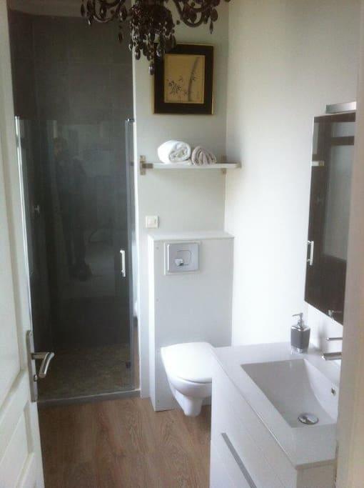 Salle d'eau avec douche italienne.