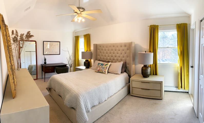 """""""Golden Dreams"""" - Master bedroom with Queen sized """"Sleep Number"""" Bed, desk, and two walk-in closets"""