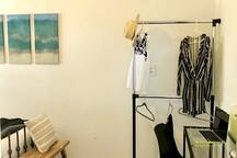 Workspace and clothes hanger stand