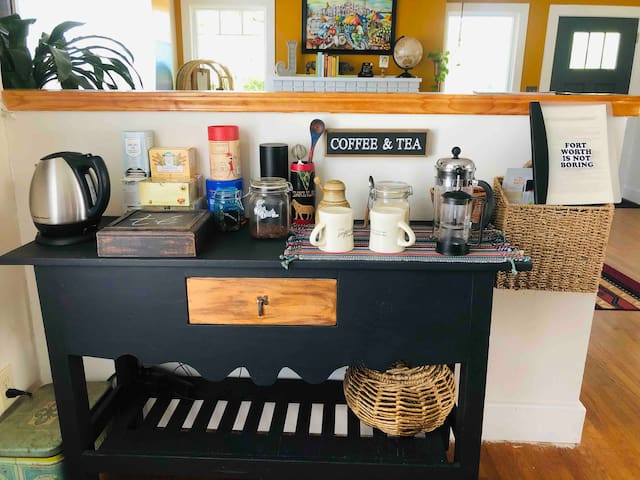 Complimentary coffee and tea, with a basket of menus, maps, and brochures from our favorite local spots.