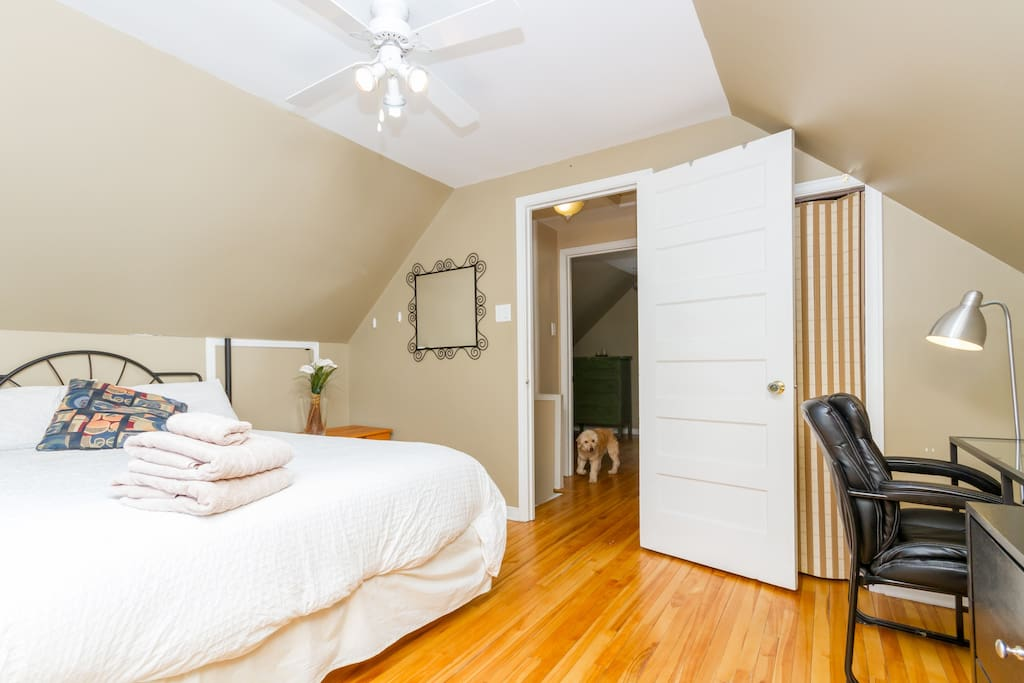 Comfortable bed, with a closet, desk, large dresser, ironing board and iron shared with the other room.
