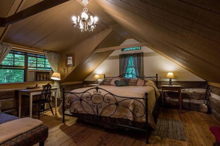 King room upstairs with half bath