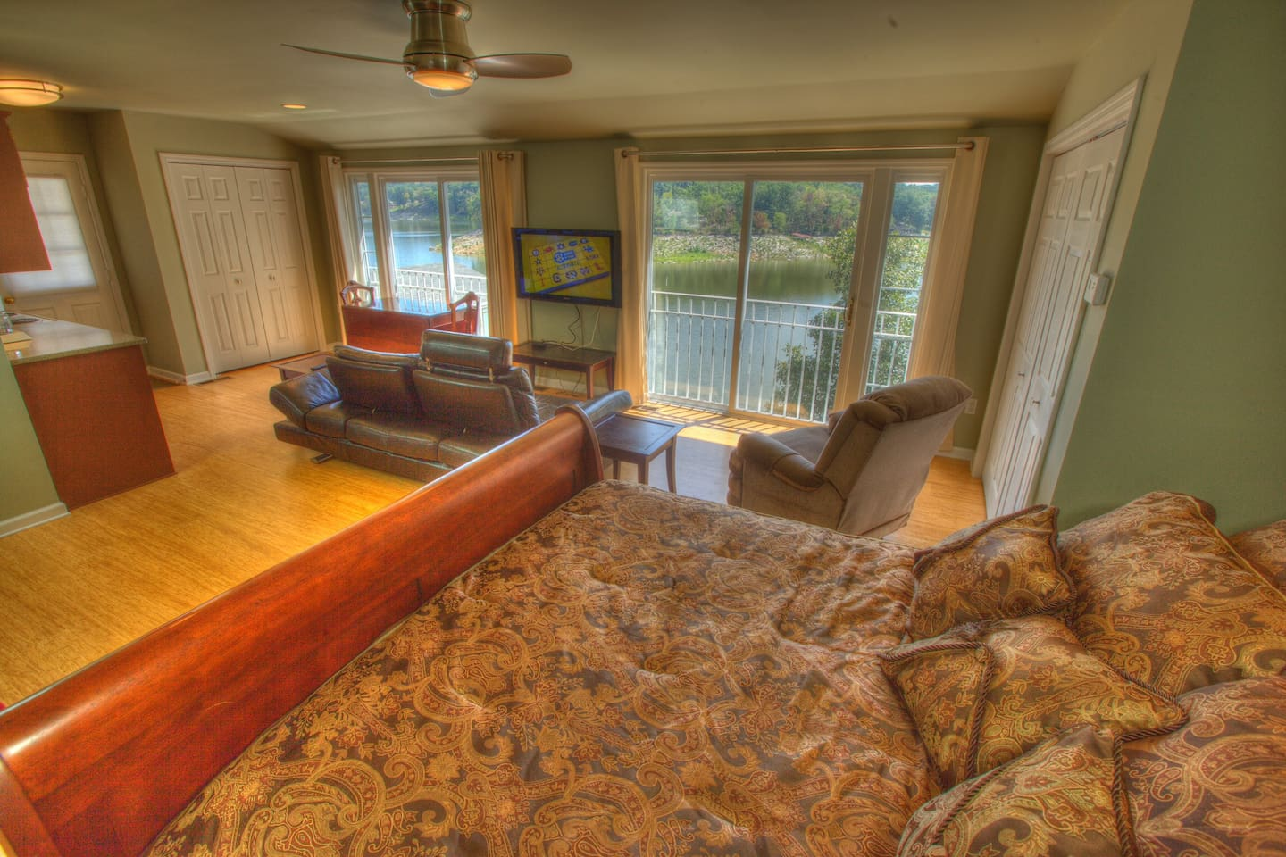 The master guest suite has a beautiful view overlooking Boone Lake.