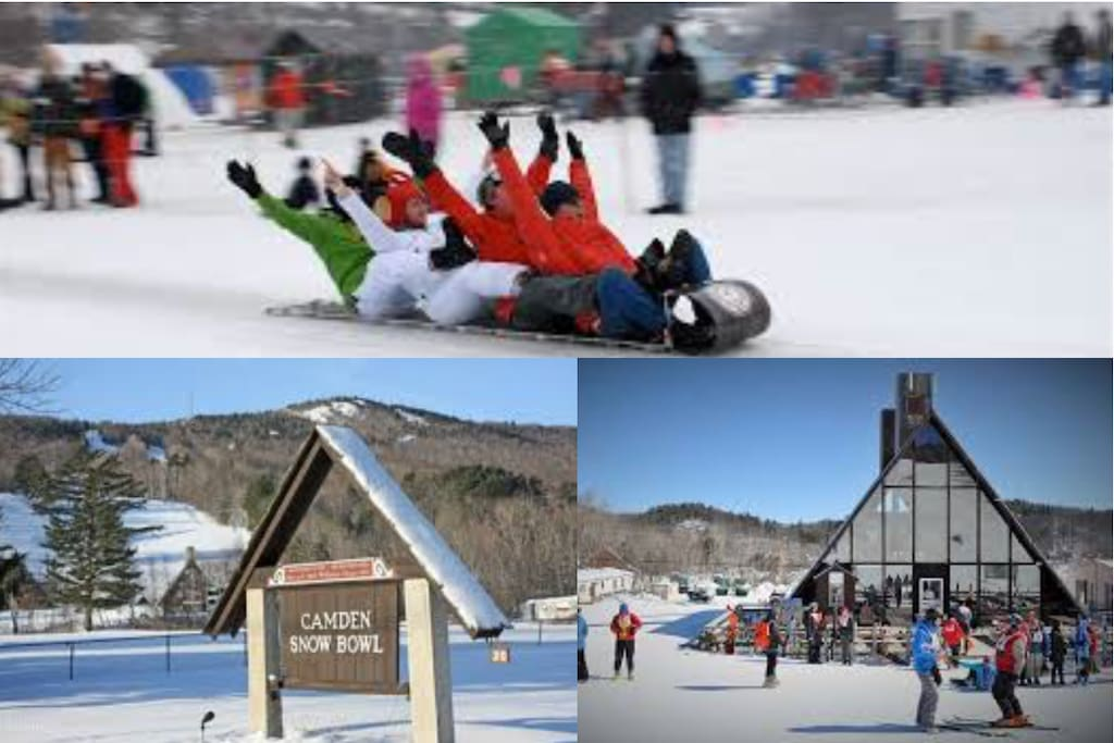 Camden Snow Bowl. Sking and Snow Boarding with a great Lodge. Toboggan Races are held here yearly.