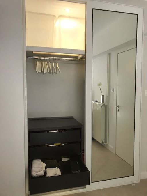 Spacious closet. Unless you carry around a dead rhinoceros, lack of space won't be an issue