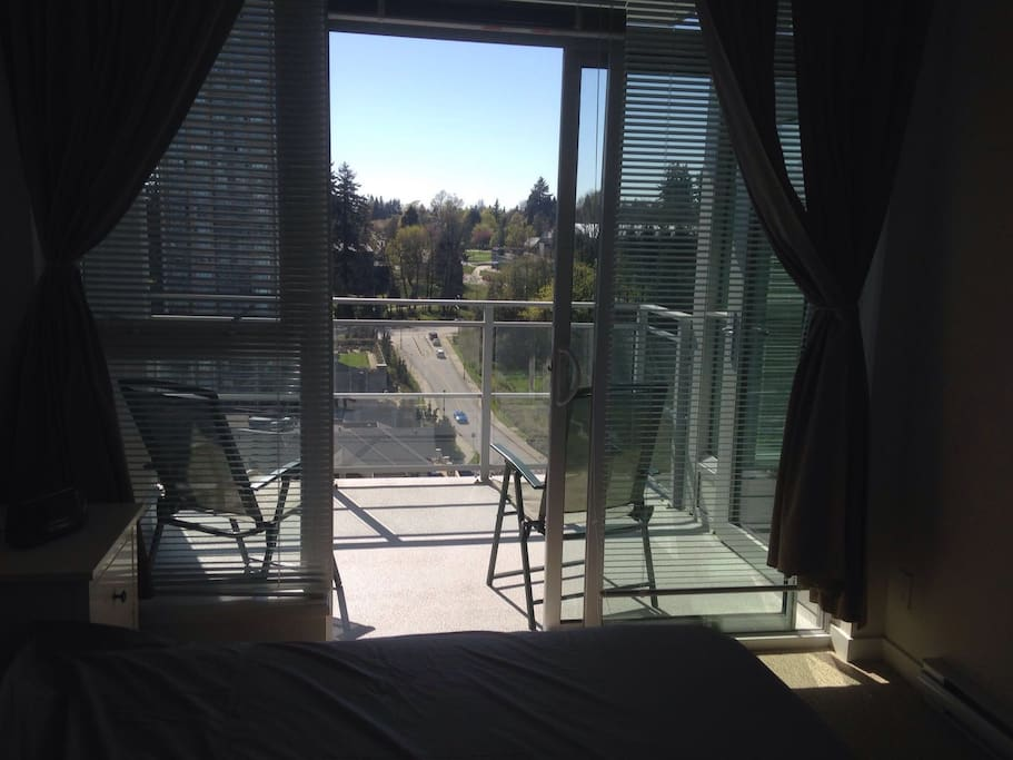 Balcony, the view from the bedroom to the park