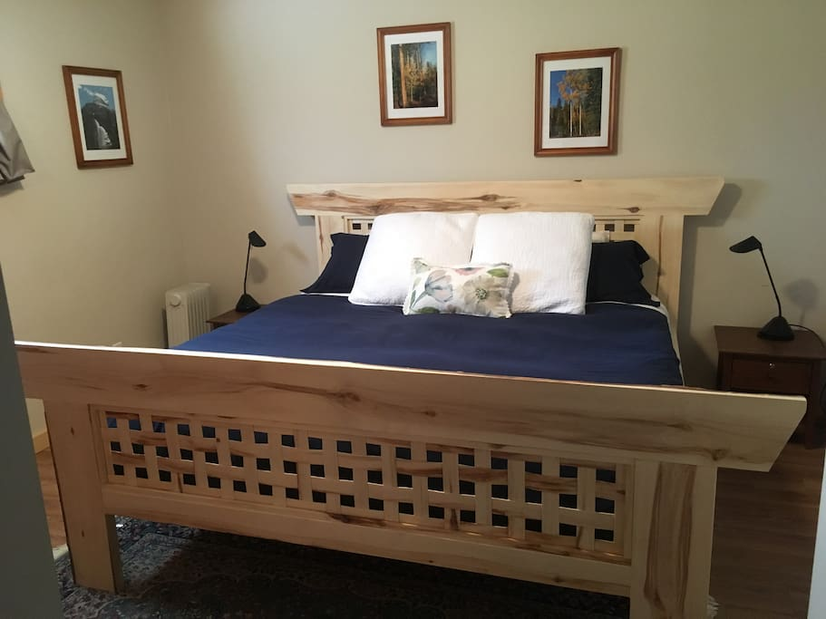 Hand-built by Dan, this super-comfortable king size bed is ready for you!
