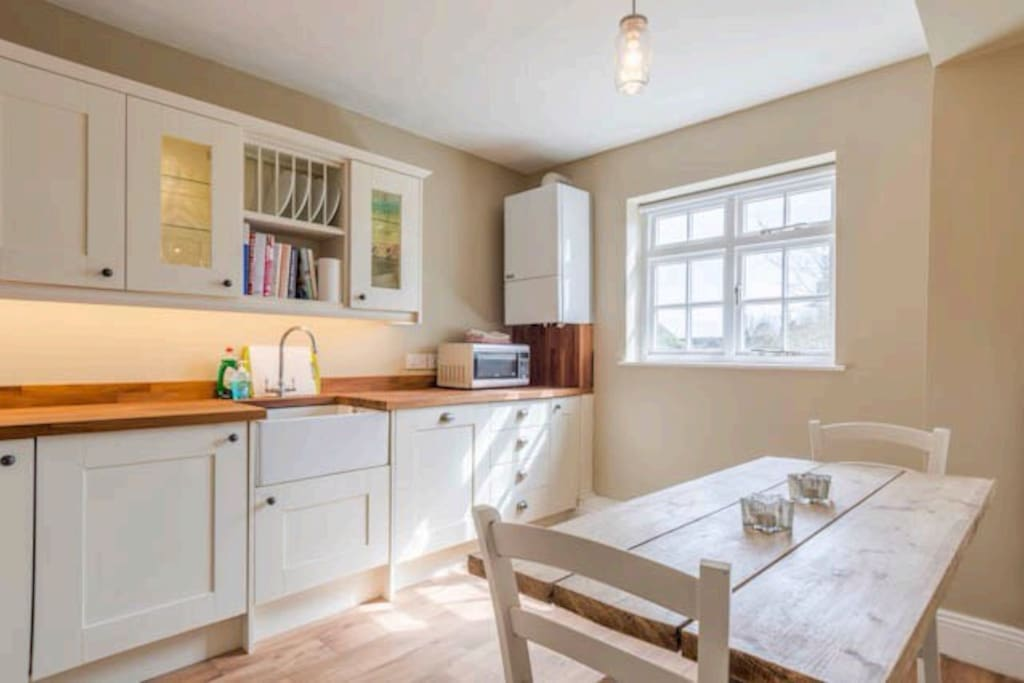 Large, new fitted kitchen/diner.  Lots of cupboard space, Smeg oven and hob, dishwasher, washer/dryer, microwave and Belfast sink.