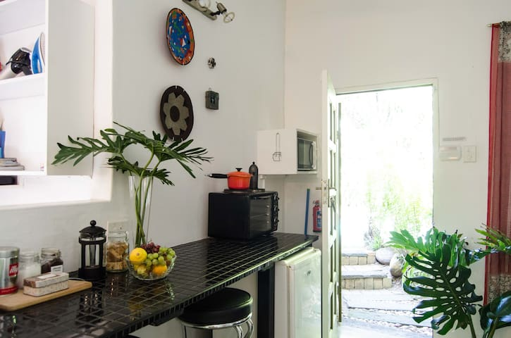 Kitchenette with microwave and tabletop oven