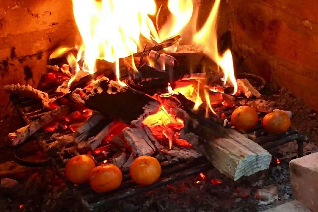 可以一起烤火,烤橘子
