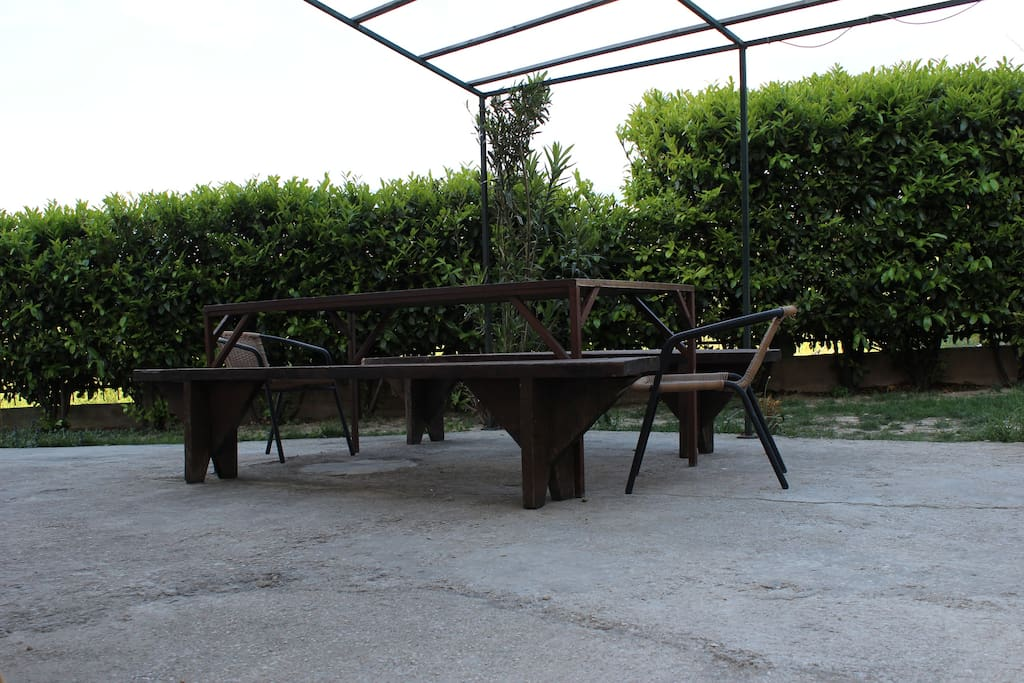 Outside table for dining