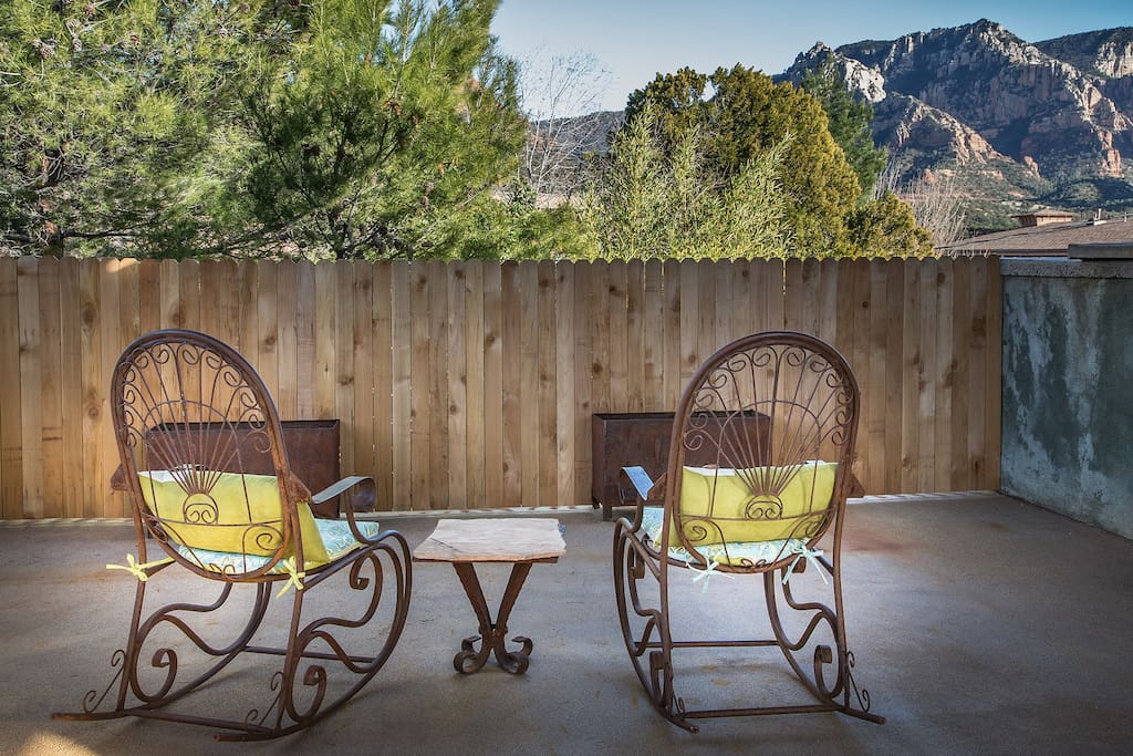 Shared patio view of the Red Rocks. One block from Uptown Sedona on Hwy 89a.