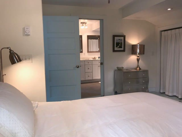 Master bedroom also has a personal pocket door to the bathroom for easy access (main entry in hallway).