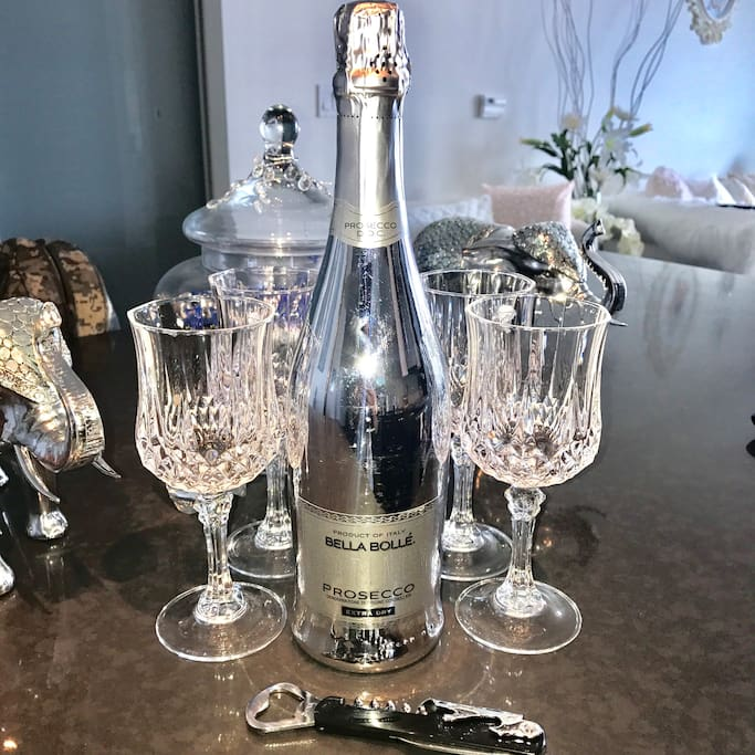 Welcome champagne gift for guests to enjoy!