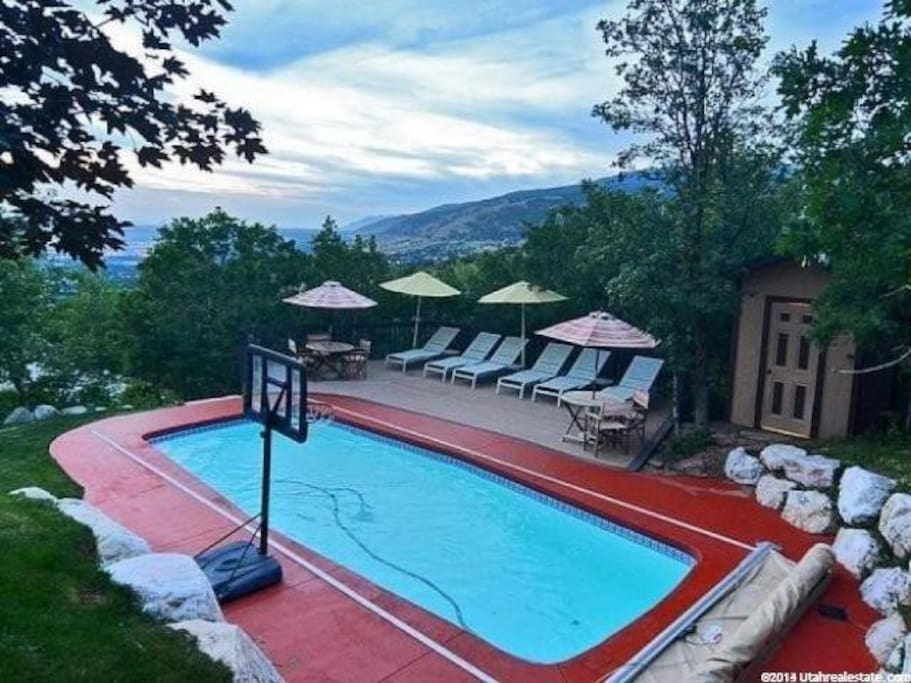 Our pool is up the steps from the entrance to the apt and has a secluded deck and 6-person dining table. You are welcome to use our pool toys and leisure items.
