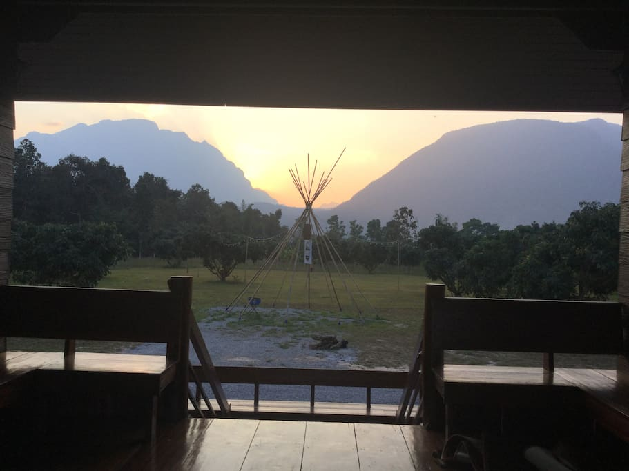 Sunset view on the balcony of Lahu house