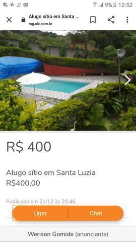 Alugo sitio em Santa Luzia R$400 a diária