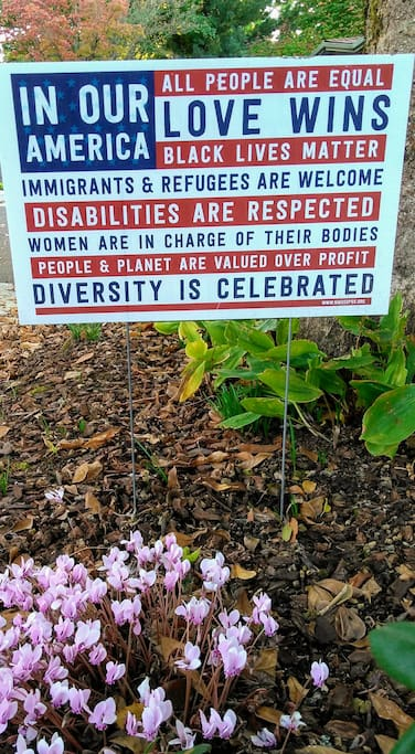 A sign in our front yard