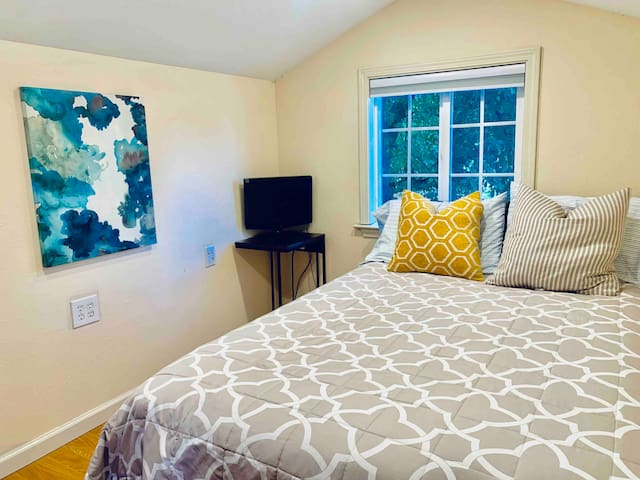 The Second TV in the bedroom is not connected to cable but it has a built in DVD player—great for movie nights!