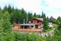 Общий вид дома и територии. Фото со стороны леса, выполнено квадрокоптером.