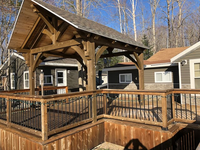Deck and guest room on the left
