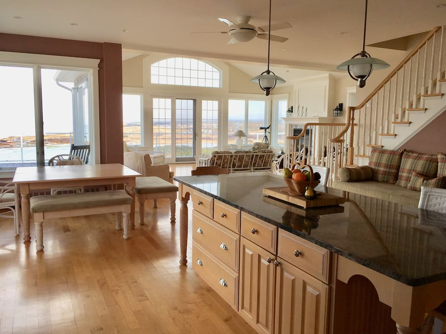 9' Granite Island, and view of Eating Area and Great Room from Kitchen