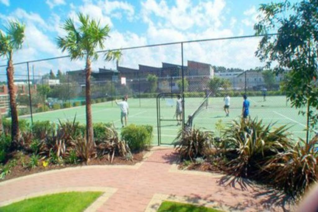 Tennis and Basketball courts are free to use as well as the gym and indoor lap pool.