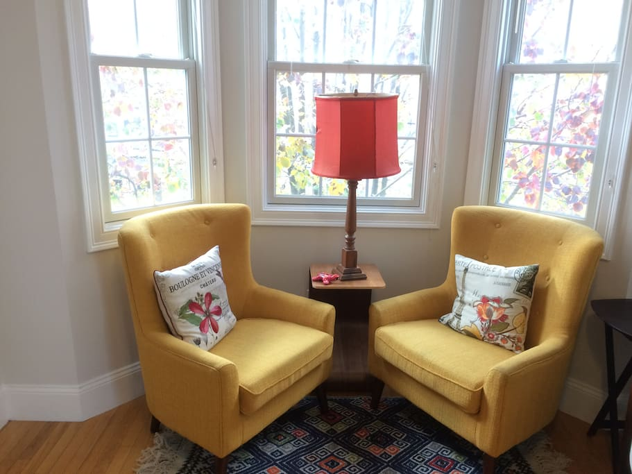 Reading nook in the bay window.