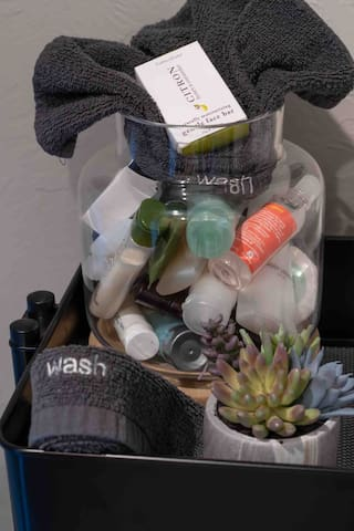 Bathroom Amenities (Assorted Shampoo, Conditioner, Shower Gels and Soaps) and Facial Washcloths for Make-up Removal