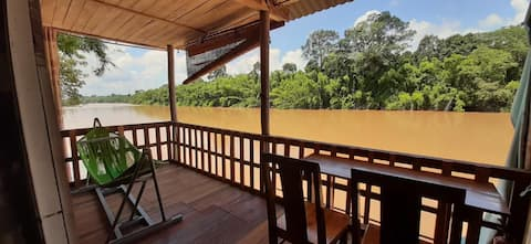 Green Bamboo Lodge Bungalow River View .