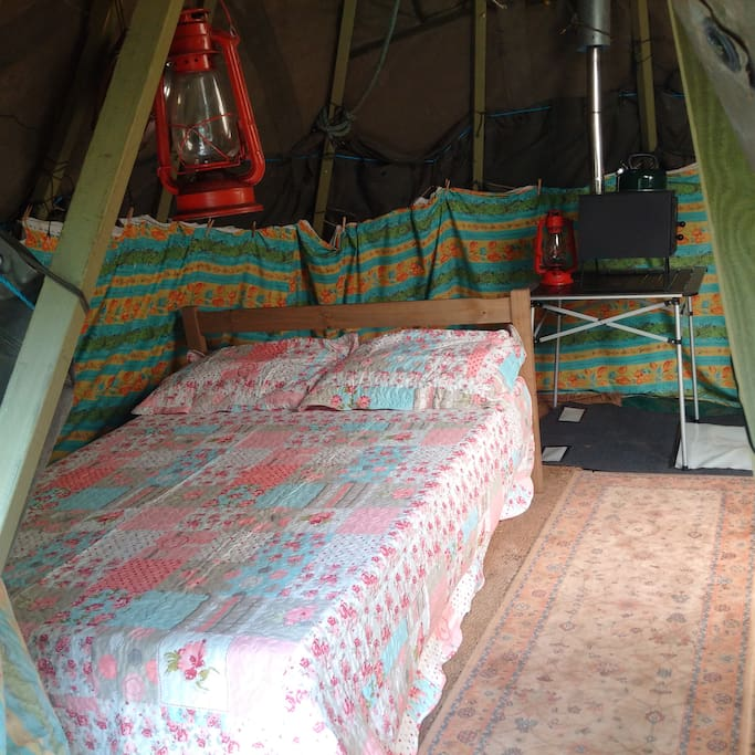Double bed inside Tipi