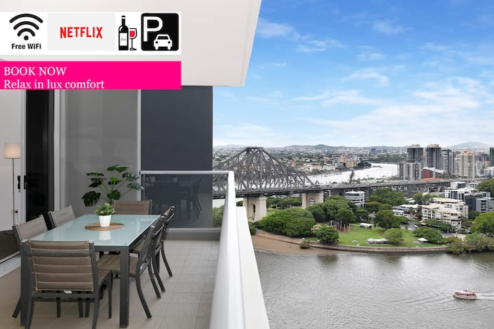 ❤️Executive 3 Bedroom Suite❤️River Views|Wifi|Brisbane|Carpark
