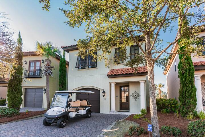 Heated community pool, 6 seat golf cart & private beach access in Sandestin 1880