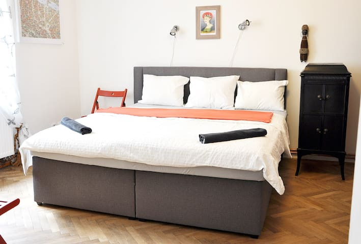 In the flat are two bedrooms - both with classical double bed, there is also loft with convertible sofa for two. Enjoy your stay in very quiet, private and comfortable apartment. Close to everything - Jewish Quarter, Old Town, Palladium mall...