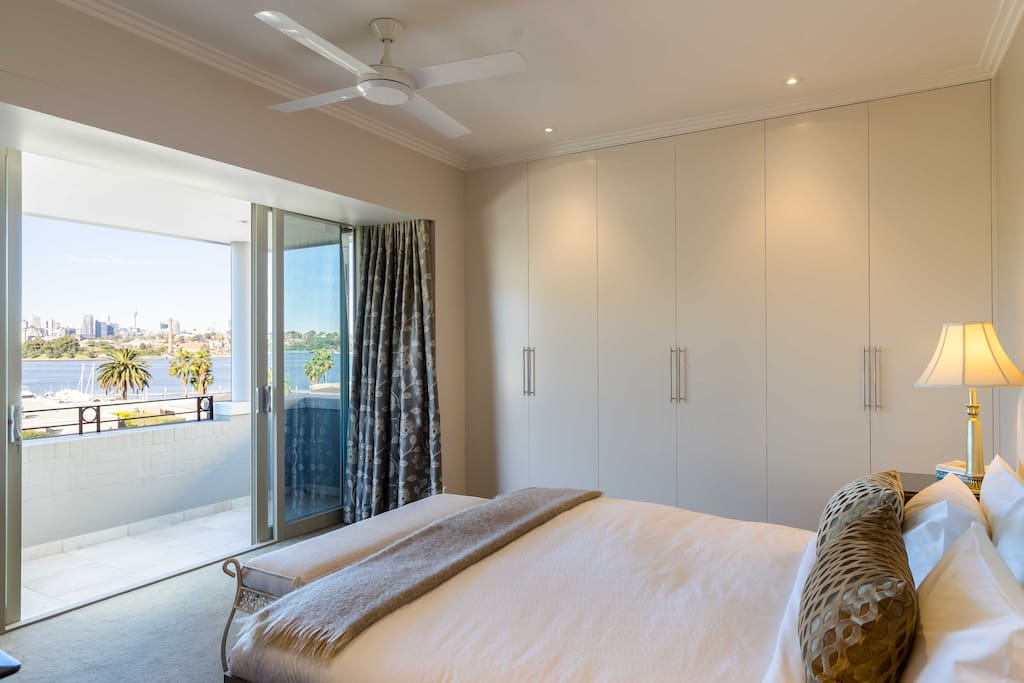 Harbour views from the master bed