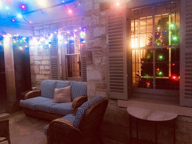 Lovely shared outdoor space with permanent fairy lights