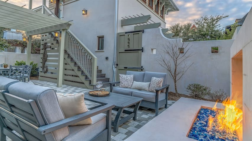 Comfortable seating in this renovated courtyard