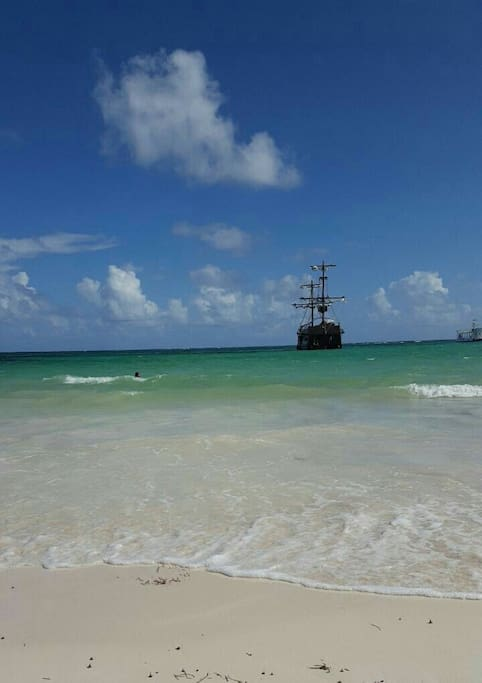 Bavaro beach at 5 minutes walking distance with it famous pirate cheap!