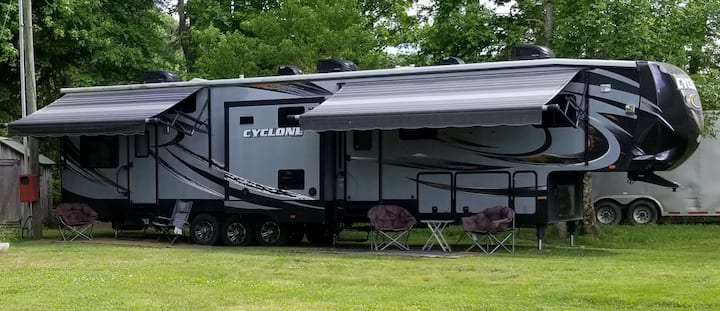 Our 44 ft Cyclone Toy Hauler Rv at Coker Creek