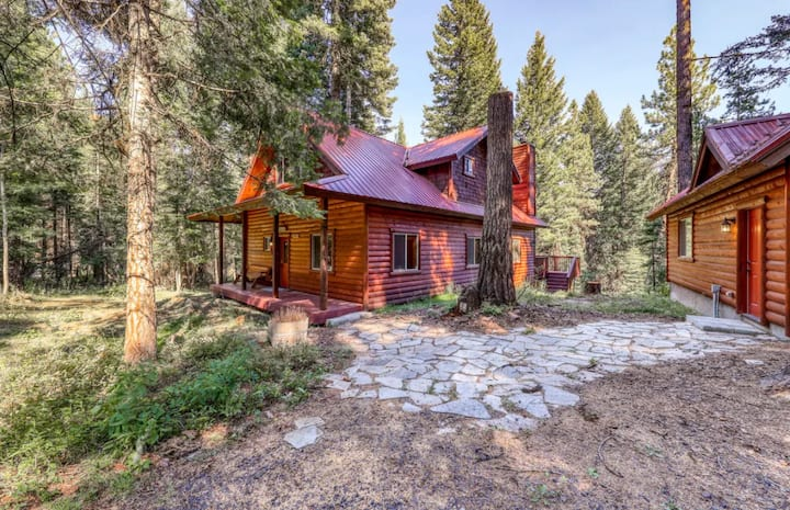 Shep's Hideout is a family-friendly cabin in a beautiful wooded setting.