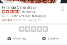 Nicaraguan restaurant, very good food and good prices, a few minutes from the house.